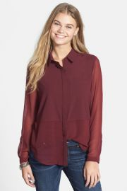 Lush Sheer Bottom Blouse at Nordstrom Rack