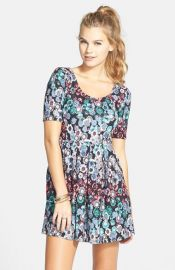 Lush Text Knit Skater Dress at Nordstrom