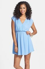 Lush and39Katieand39 Surplice Chiffon Skater Dress at Nordstrom