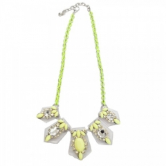 Luxe Lucite Neon Yellow Pendant Necklace at T & J Designs