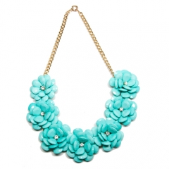 Luxe Turquoise Flower Petal Necklace at T+J Designs