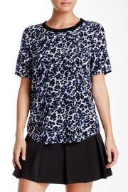 Lynx Print Short Sleeve Silk Blouse by Rebecca Taylor at Nordstrom Rack