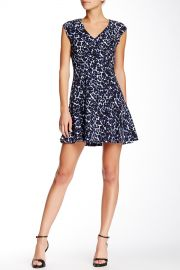 Lynx Printed V-Neck Flare Dress at Nordstrom Rack