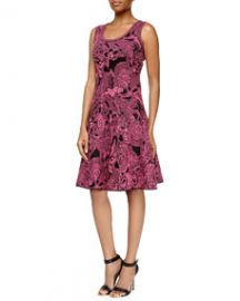 M Missoni Floral Intarsia-Knit Dress Pink at Neiman Marcus
