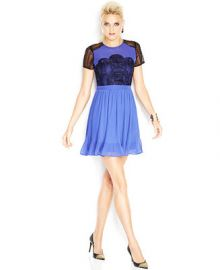 MADE Fashion Week for Impulse Short-Sleeve High-Neck Lace-Inset Dress at Macys