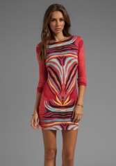 MARA HOFFMAN Scoop Back Mini Dress in Phoenix Red at Revolve