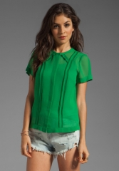 MARC BY MARC JACOBS Crystal Textured Silk Top in Gator Green at Revolve