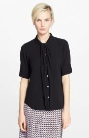 MARC JACOBS Elbow Sleeve Button Front Silk Blouse at Nordstrom