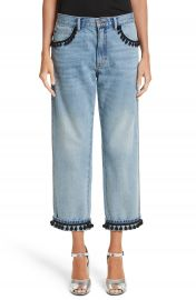 MARC JACOBS Pom Trim Crop Jeans at Nordstrom
