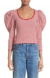 MARC JACOBS Stripe Cotton Puff Sleeve Top at Nordstrom
