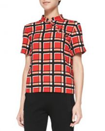 MARC by Marc Jacobs Toto Plaid Crepe Top at Neiman Marcus