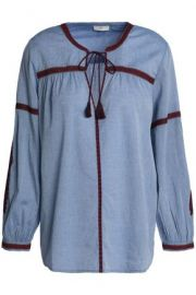 MARLEN EMBROIDERED COTTON-CHAMBRAY BLOUSE at The Outnet