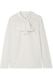 MAX MARA - POLKA-DOT SILK CREPE DE CHINE AND STRETCH-JERSEY BLOUSE - WHITE at Net A Porter