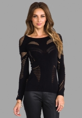 MCQ ALEXANDER MCQUEEN Mesh Body Top in Black at Revolve