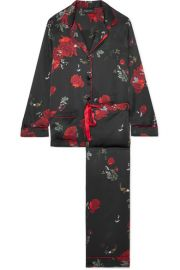 MENG - FLORAL-PRINT SILK-SATIN PAJAMA SET - BLACK at Net A Porter