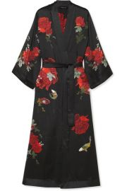 MENG - PRINTED SILK-SATIN ROBE - BLACK at Net A Porter