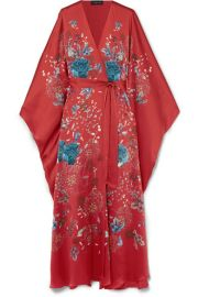 MENG   Printed silk-satin robe at Net A Porter