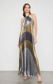 METALLIC COLORBLOCKED PLEATED GOWN at Bcbg