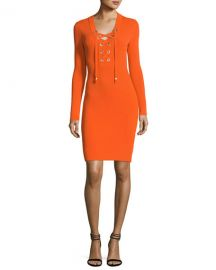 MICHAEL Michael Kors Lace-Up Ribbed Sweater Dress at Neiman Marcus