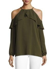 MICHAEL Michael Kors Long-Sleeve Cold-Shoulder Knit Flounce Top at Neiman Marcus