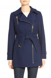 MICHAEL Michael Kors Belted Asymmetrical Zip Wool Blend Coat  Petite    Nordstrom at Nordstrom