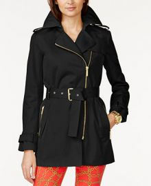 MICHAEL Michael Kors Belted Front-Zip Trench Coat at Macys