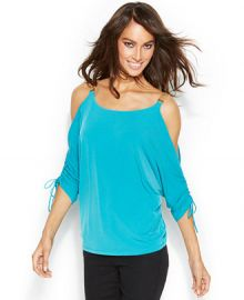 MICHAEL Michael Kors Chain Strap Cold Shoulder Top in blue at Nordstrom