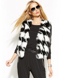MICHAEL Michael Kors Faux-Fur Houndstooth Vest - Jackets and Blazers - Women - Macys at Macys