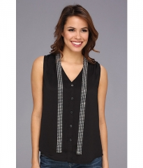 MICHAEL Michael Kors Georgette Necktie V-Neck Tank BlackSilver at 6pm
