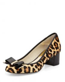 MICHAEL Michael Kors Kiera Calf-Hair Bow Pump LeopardNatural at Neiman Marcus