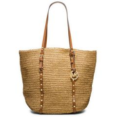 MICHAEL Michael Kors Large Studded Straw Shopper at Macys