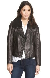 MICHAEL Michael Kors Leather Moto Jacket with Faux Shearling Collar at Nordstrom