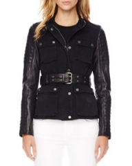 MICHAEL Michael Kors Leather-Sleeve Denim Jacket at Neiman Marcus