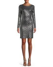 MICHAEL Michael Kors Long-Sleeve Cowl-Neck Sequin Dress at Neiman Marcus