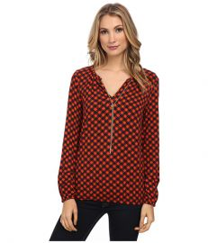 MICHAEL Michael Kors Long Sleeve Dogtooth Chain Peasant Top Mandarin at 6pm