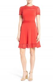 MICHAEL Michael Kors Mesh Combo Fit   Flare Dress  Regular   Petite at Nordstrom