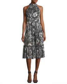 MICHAEL Michael Kors Metallic-Knit Tiered Midi Dress at Neiman Marcus