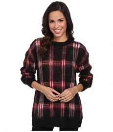 MICHAEL Michael Kors Plaid Long Sleeve Crew Neck Sweater at 6pm