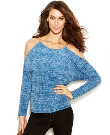MICHAEL Michael Kors Printed Cold-Shoulder Hardware Blouse at Macys
