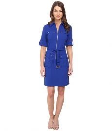 MICHAEL Michael Kors Roll Sleeve Belted Shirt Woven Dress at 6pm