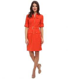 MICHAEL Michael Kors Roll Sleeve Belted Shirt Woven Dress Grenadine at 6pm