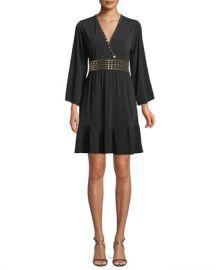 MICHAEL Michael Kors Studded V-Neck A-Line Dress at Neiman Marcus
