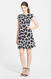 MICHAEL Michael Kors and39Antaliaand39 Giraffe Print Fit andamp Flare Dress in black at Nordstrom