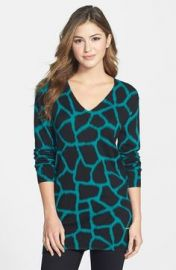 MICHAEL Michael Kors and39Antaliaand39 Print V-Neck Sweater in blue at Nordstrom