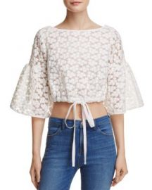 MILLY Lydia Floral Embroidered Top at Bloomingdales