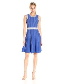 MILLY Women s Vertical Texture Flare Dress blue at Amazon