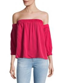 MILLY - Solid Off-The-Shoulder Silk Top at Saks Off 5th