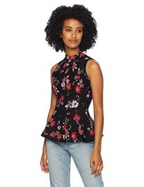 MILLY  Knit Twilight Floral Sleeveless Peplum Flare Shell Top at Amazon