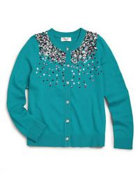MILLY MINIS - Girls Sequin Cardigan in emerald at Saks Fifth Avenue