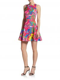 MILLY Tropical Print Fit-and-Flare Dress at Saks Fifth Avenue